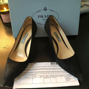 Prada curved heel pointy black suede pump 37.5 EU